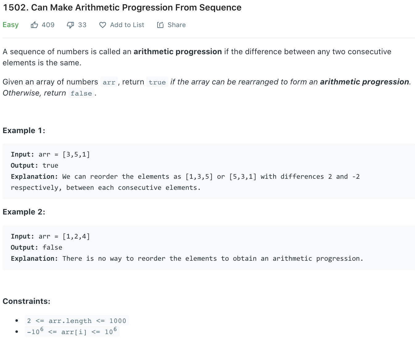 Can Make Arithmetic Progression From Sequence