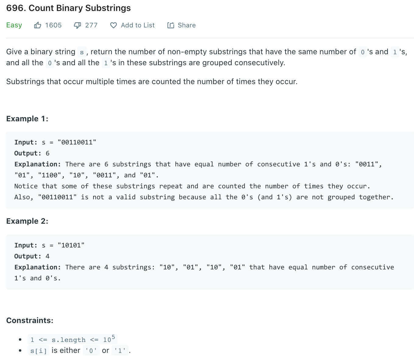 Count Binary Substrings