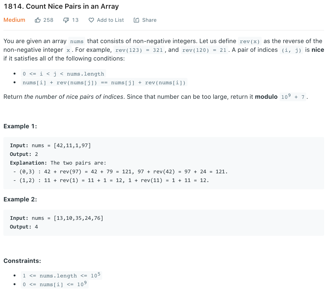 Count Nice Pairs in an Array