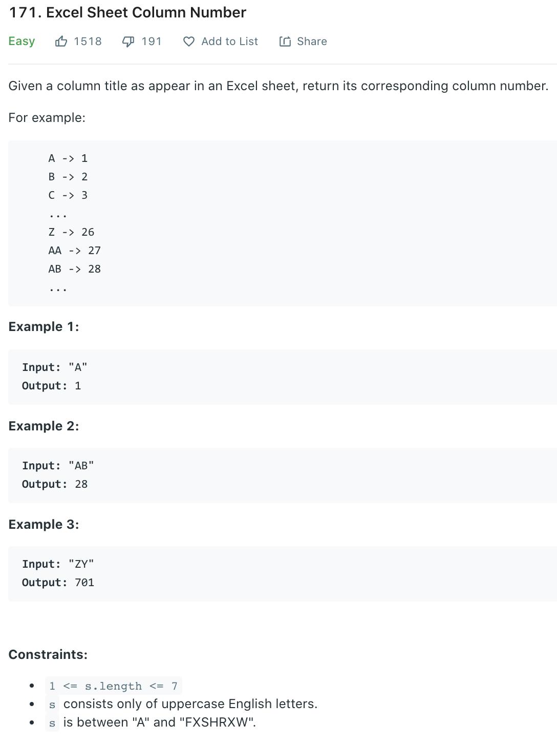 Excel Sheet Column Number