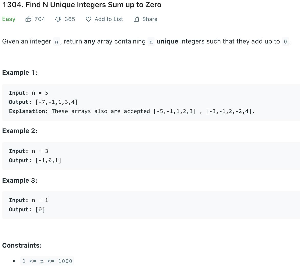 Find N Unique Integers Sum up to Zero