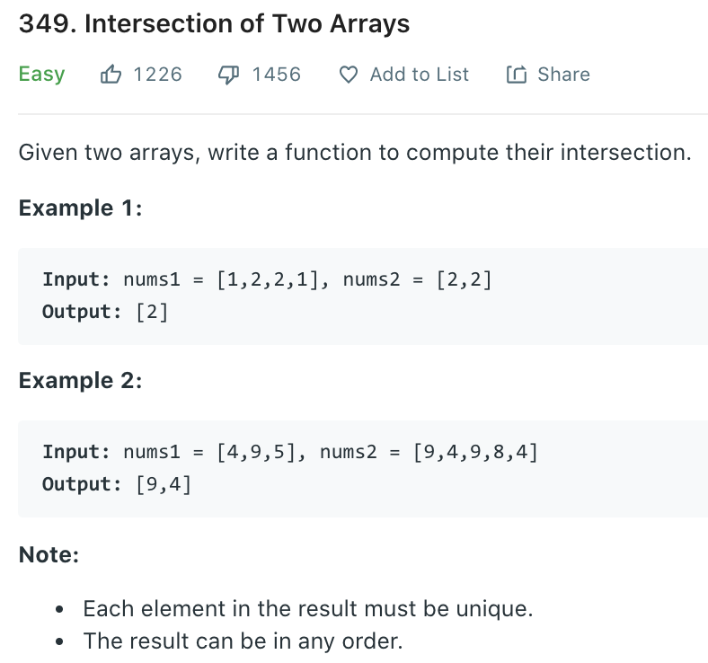 Intersection of Two Arrays
