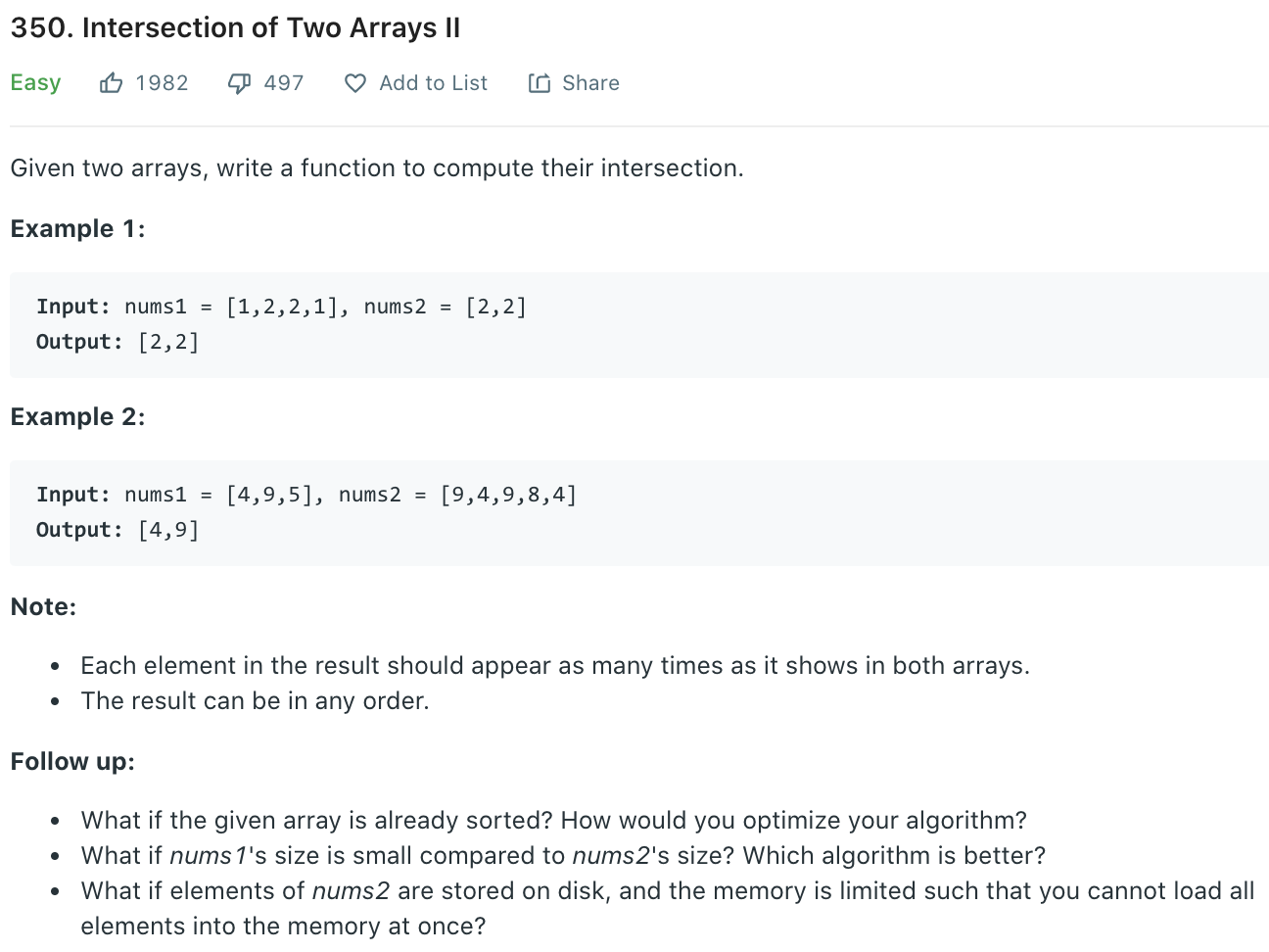 Intersection of Two Arrays II