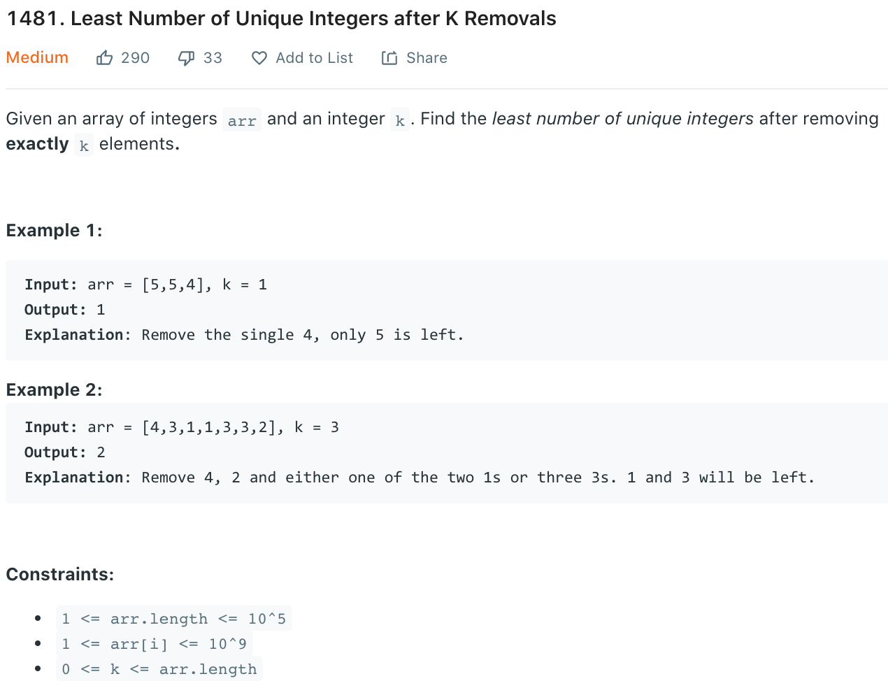 Least Number of Unique Integers after K Removals