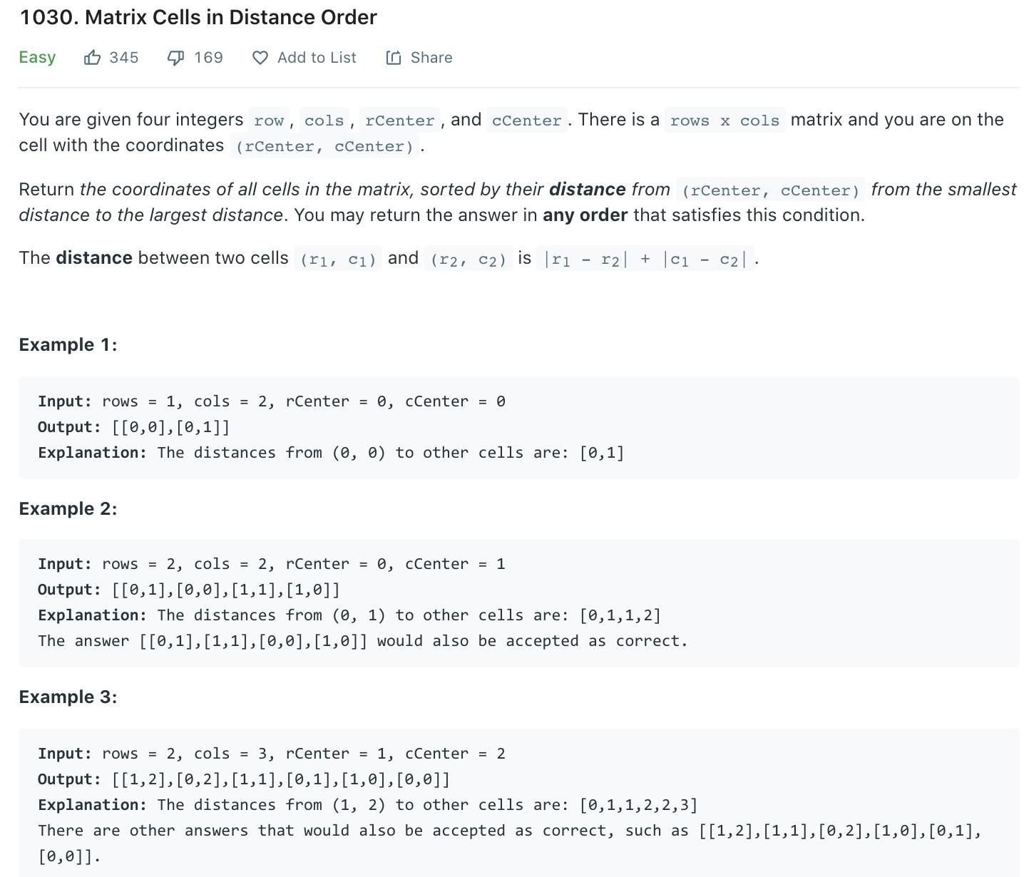 Matrix Cells in Distance Order