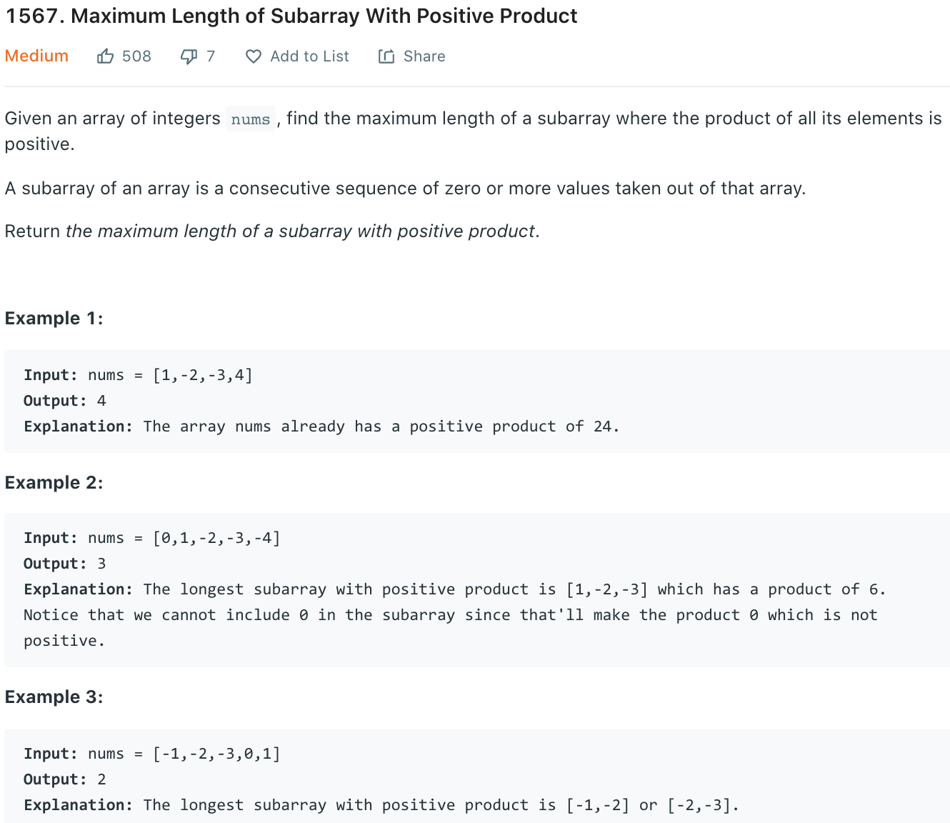 Maximum Length of Subarray With Positive Product