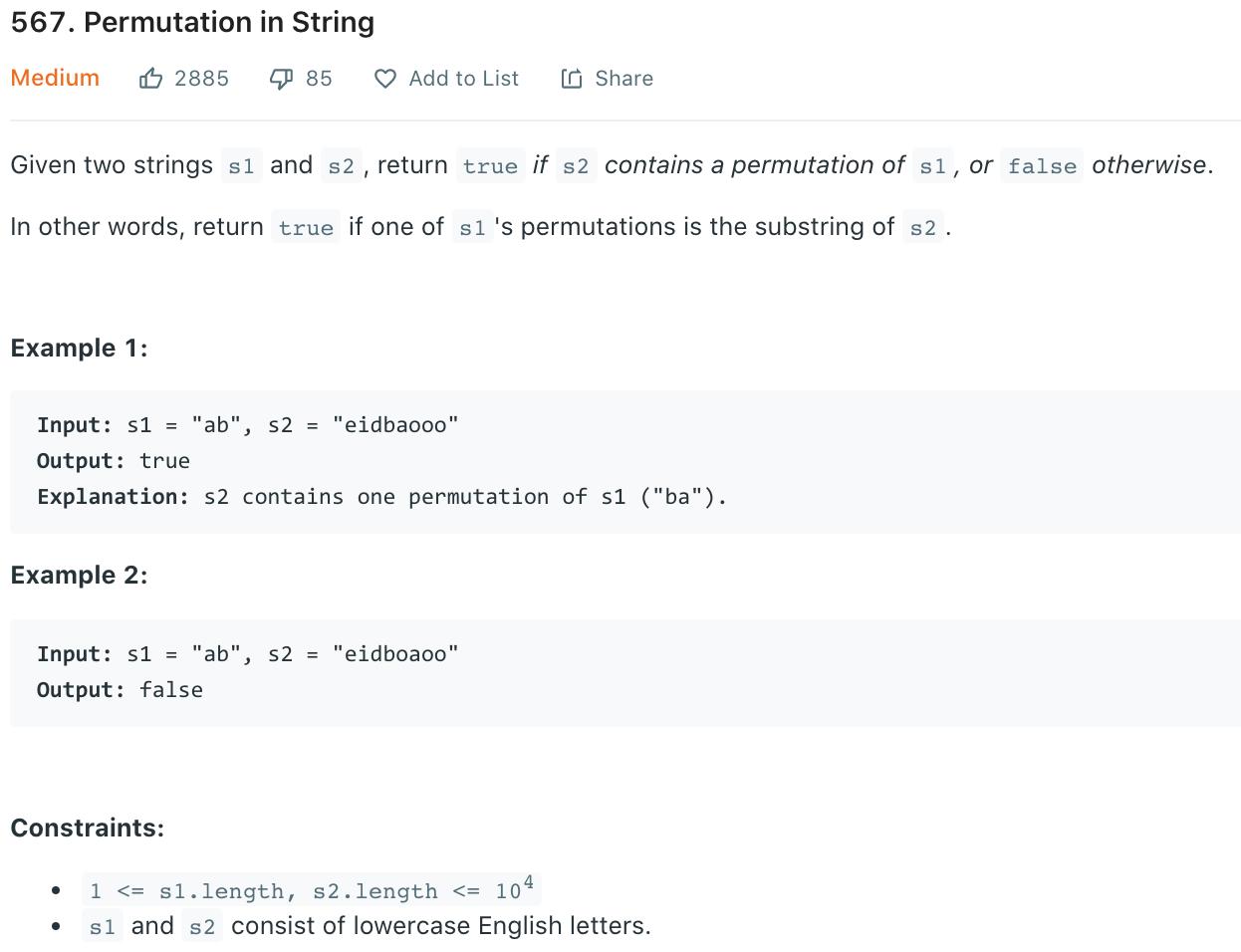 Permutation in String