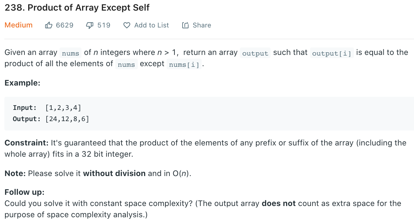 Product of Array Except Self