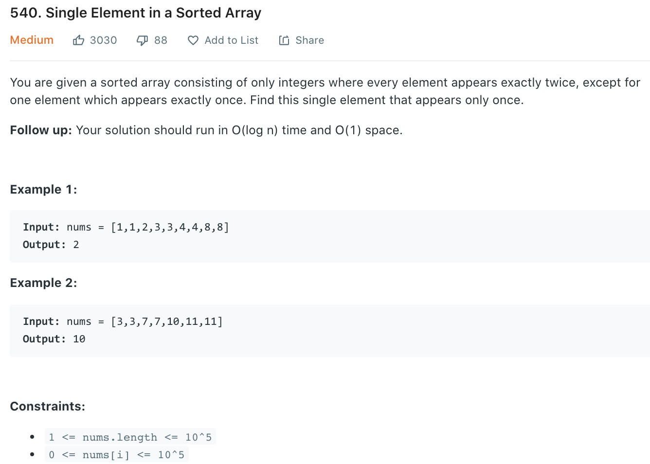 Single Element in a Sorted Array