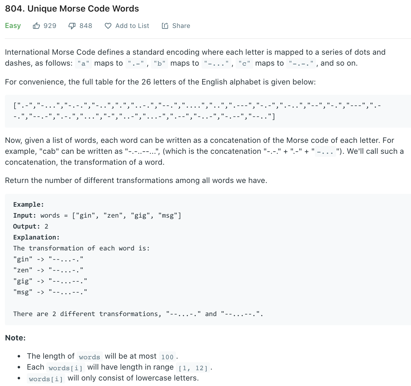 Unique Morse Code Words